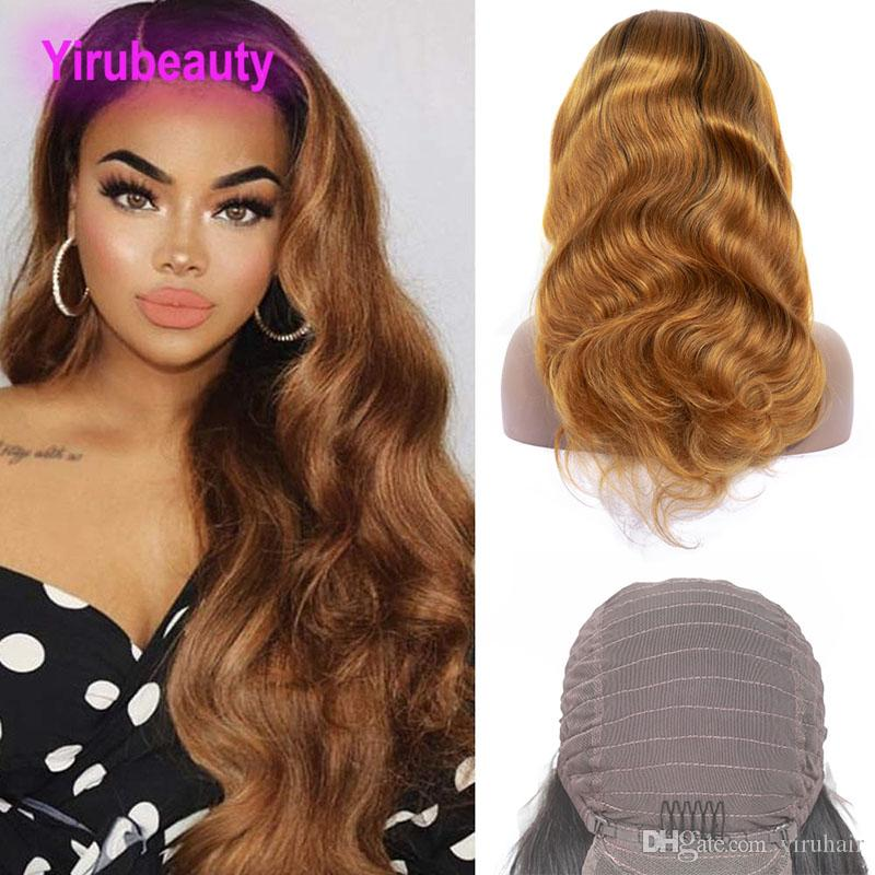 Indian Virgin Hair 1B 30 Ombre Hair Products Lace Front Wig Hair Products Body Wave 10-24inch 1B 30 Two Tones Lace Front Wig