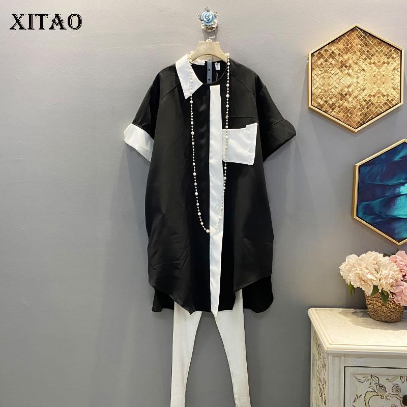 Xitao coreano casuale allentato più il vestito nero 2020 manica corta estate del nuovo mosaico donne senso del design Dress DMY4352