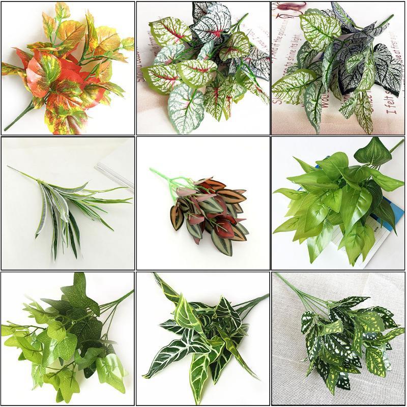 1pcs 15 estilos 7 Forks / plantas artificiais Bouquet plantas Folha de simulação Garden Home acessórios de decoração flores falsificadas