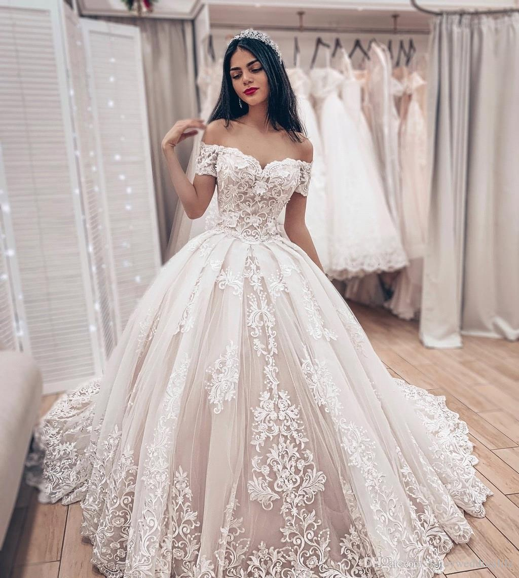 Discount Elegant Ivory Off Shoulders Lace Wedding Dresses 2019