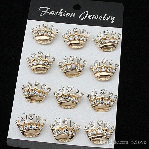 Stunning Fashion Gold Alloy Small Crown Brooch Hot Selling Crystal Cake Pins Brooches For Decoration Exquisite Wedding Jewelry Pins