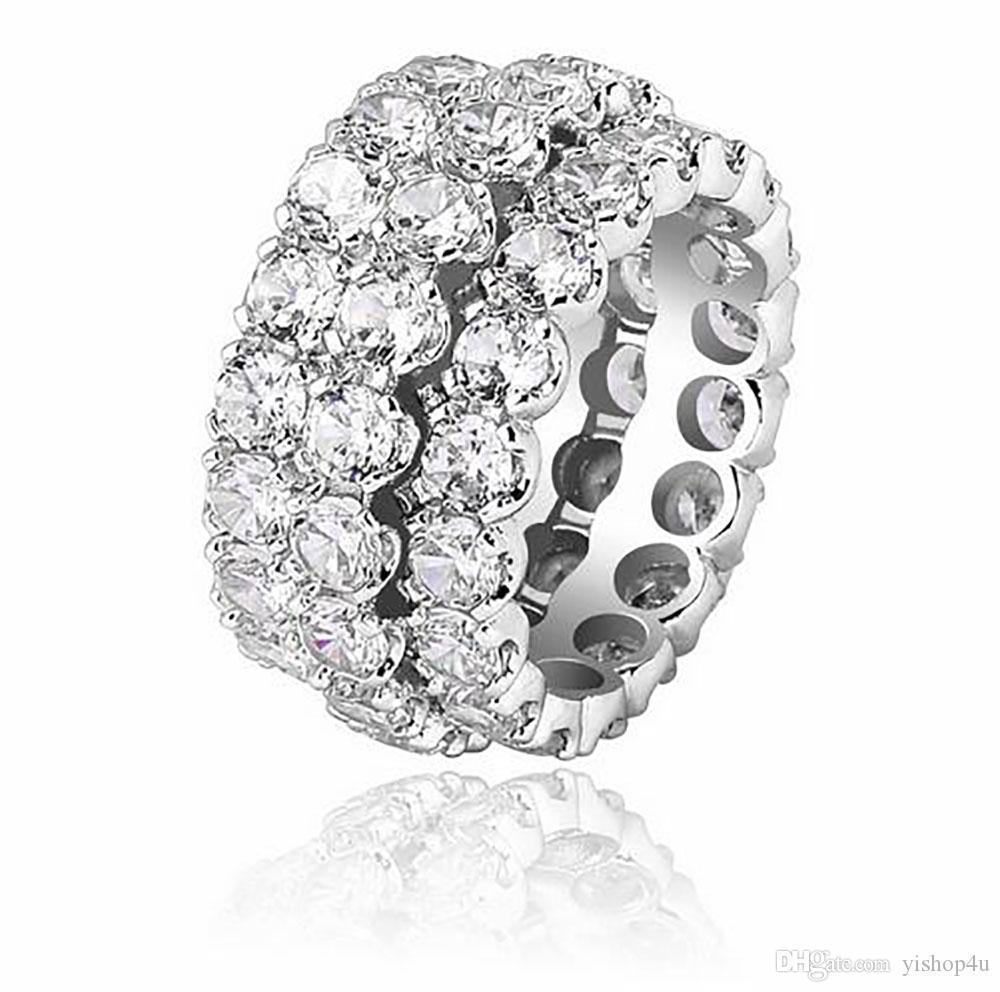 3 Reihe CZ-Diamant-Ring-14K Gold-Silber Bling Ring Mikro pflastern Zirkonia für Männer Frauen Hiphop Schmuck Geschenke