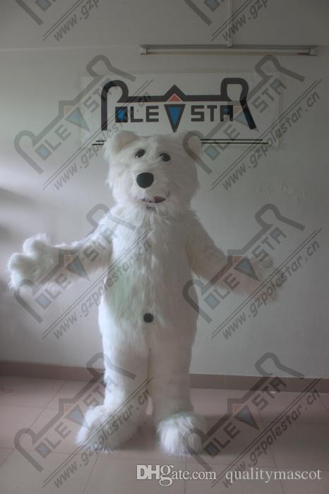 costumes de mascotte blanc long ours polaire fourrure tête EVA de qualité acteur de marche de l'ours blanc STAR POLE MASCOT COSTUMES