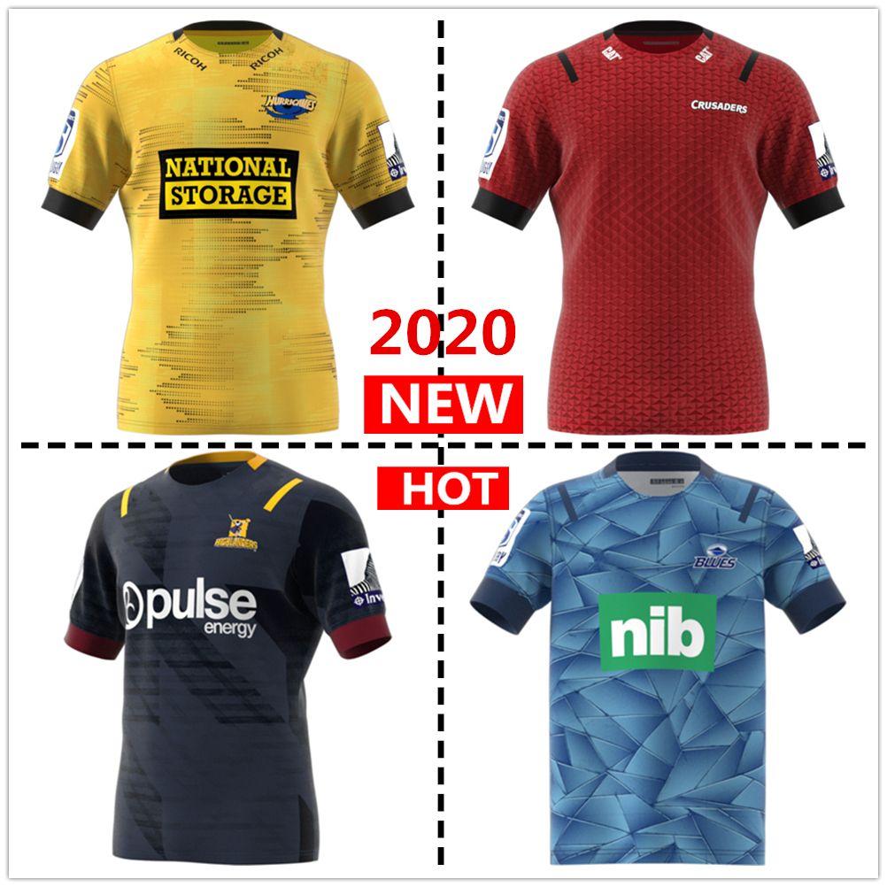 뉴질랜드 슈퍼 럭비 저지 2020 고지 십자군 집 뉴저지 허리케인 블루스 럭비 유니폼 셔츠 큰 크기 S-5XL