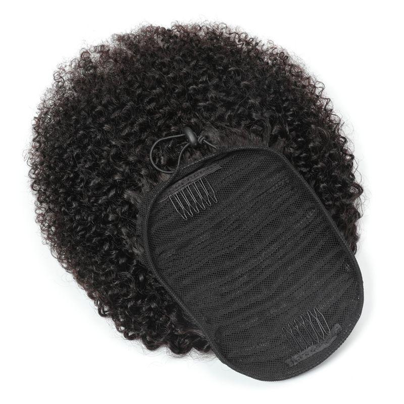 Ponytails peruano Afro Kinky Curly 100g / set um pedaço de cabelo extensões de cabelo encaracolado atacado cabelo virgem 100% cabelo humano