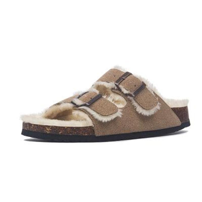 2019 Новый стиль осень Sheep Fur Cork Трусы Осень Женщины Повседневная из натуральной кожи Снаружи Твердые пряжки Мягкие плюшевые Слайды обувь