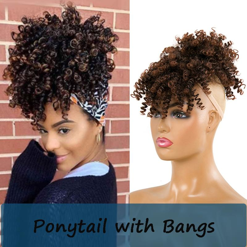 High Puff Afro Kinky Curly Synthetic Ponytail with Bangs Ponytail Hair Extension Drawstring Short Afro Pony Tail Clip in for Women