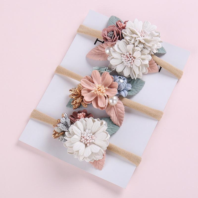 Sweet Baby Bandeau Perle florale bébé élastique Hairband pour nouveau-né Photographie Kid Head Band Haarband Bébé Accessoires cheveux