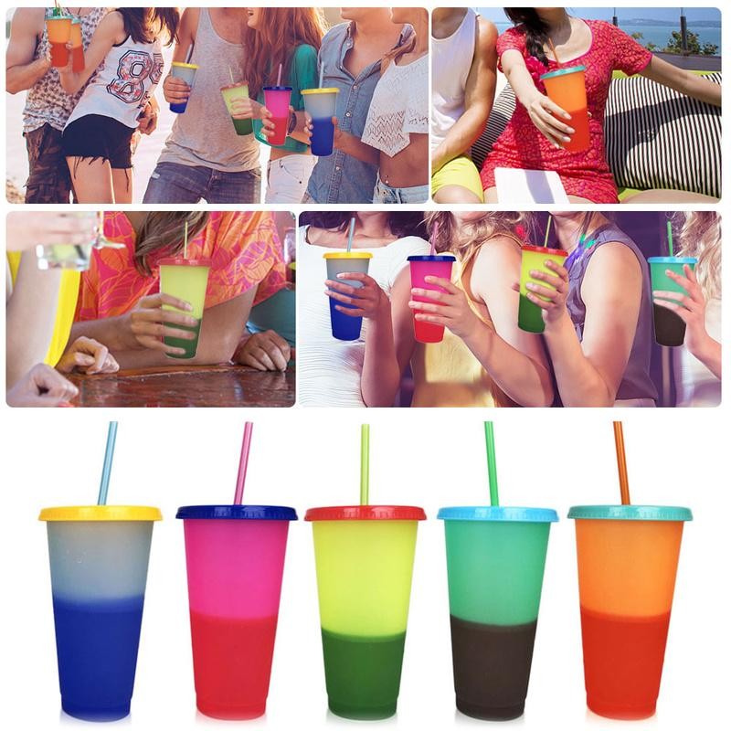 2020 Creative 24OZ 700ml Plastic Temperature Change Color Cups Colorful Cold Water Color Changing Coffee Mug Bottles With Straws Lid Summer