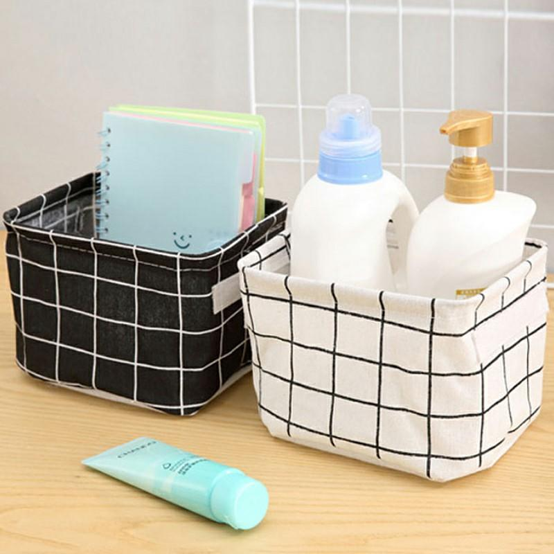 Desktop Wardrobe Storage Basket Storage Bin Toy Closet Container Organizer Box Fabric Makeup Cosmetics Organizer Book Storage Bag