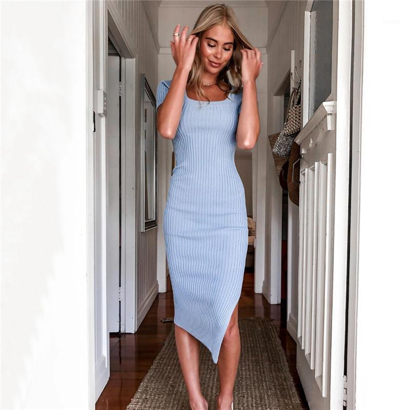Giyim Gündelik Giyim Kadın Yaz Tasarımcı BODYCON Elbiseler Boyun A Hattı BODYCON Basit Seksi Tasarımcı Kadın Slash