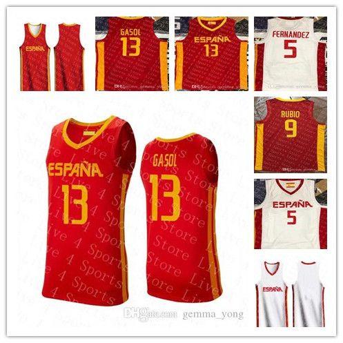 저렴한 팀 Espana 농구 월드컵 9 Ricky Rubio 13 Marc Gasol 5 Rudy Fernandez 41 Juancho Hernangomez 14 Willy Geuer Claver Jerseys