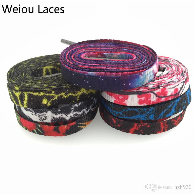 Weiou carbon weave Heat transfer Flat personalized replacement shoelaces Galaxy Plum blossom Polyester Shoe Laces Strings Wholesales