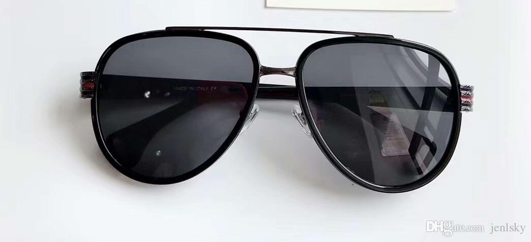 Occhiali da sole pilotati neri / grigi 0447 Cool Men Occhiali da sole Occhiali da sole di guida Occhiali da vista Occhiali nuovi con scatola