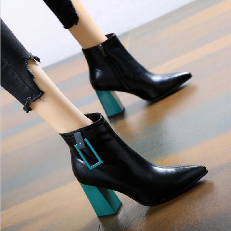 Ботильоны толстый каблук Woman пинетки бляшкой сапоги Женская обувь Женский Wild Joker Botas Mujer Остроконечные пальцы Оранжевый Зеленый