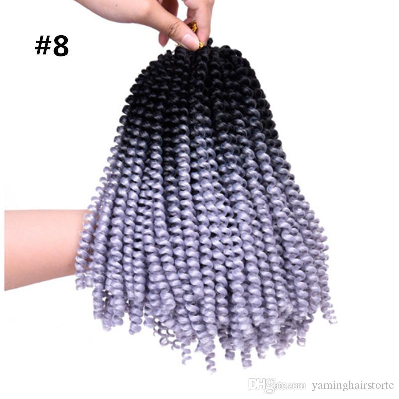 8 인치 봄 트위스트 크로 셰 뜨개질 브레이드 합성 30stands / pack Kanekalon 곱슬 다채로운 곱슬 머리 가발을 반송