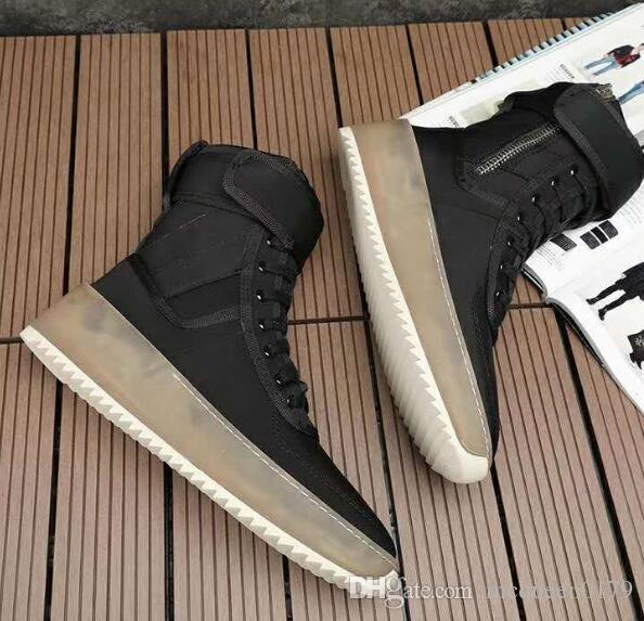 2019 hot Best Black and gray Quality Fear of God Top Military Sneakers Hight Army Boots Men and Women Fashion Shoes Martin Boots size 38-46