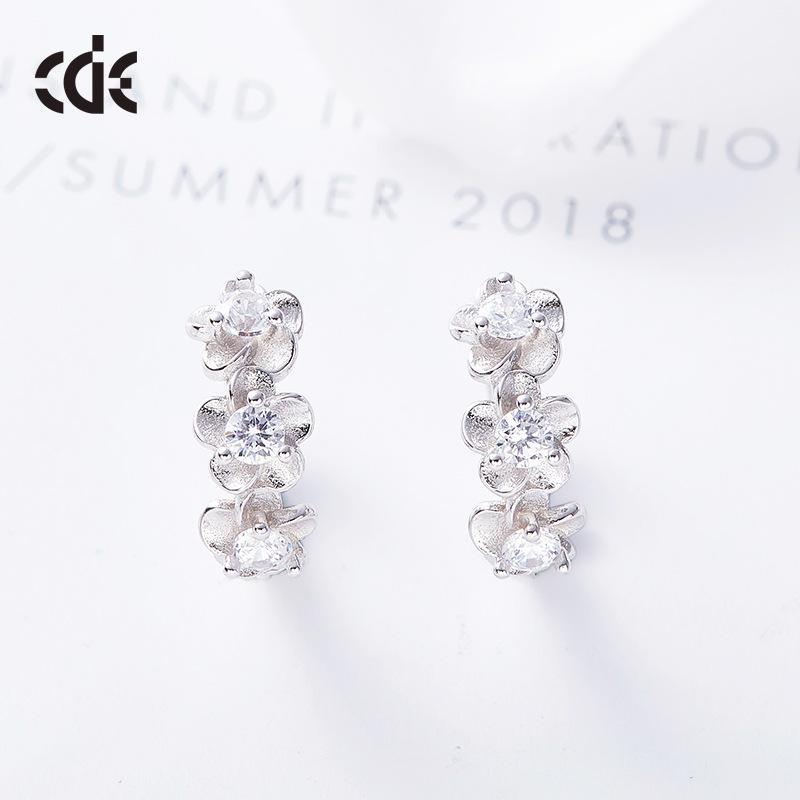 Fashion-Euro-American Wind 925 Romantic orecchini fiore di cristallo Swarovski orecchini eleganti