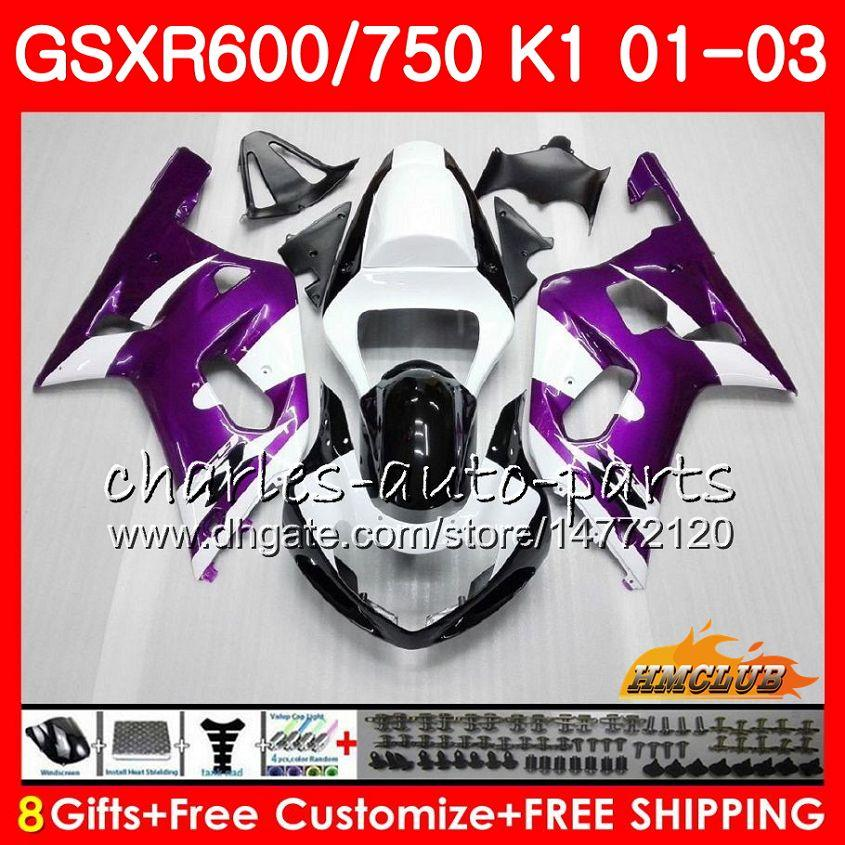 Cuerpo de 8Gifts para Suzuki GSX-R750 Púrpura blanco GSXR 600 750 GSXR600 01 02 03 4HC.25 GSXR-600 K1 GSX R750 GSXR750 2001 2002 2002 2003 Kit de carenario