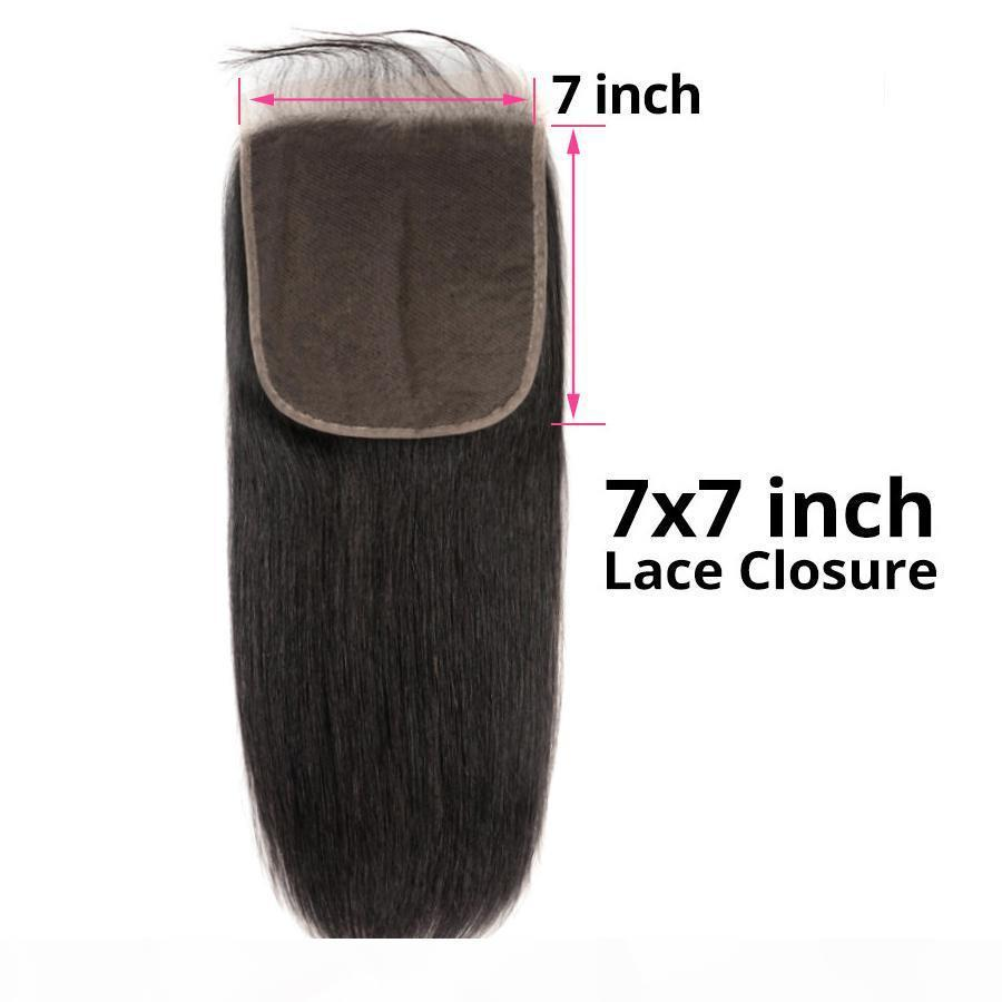 Brazilian Virgin Hair 7x7 Lace Closure New Hair Products 8 -22inch Straight Human Hair Top Closures Seven By Seven