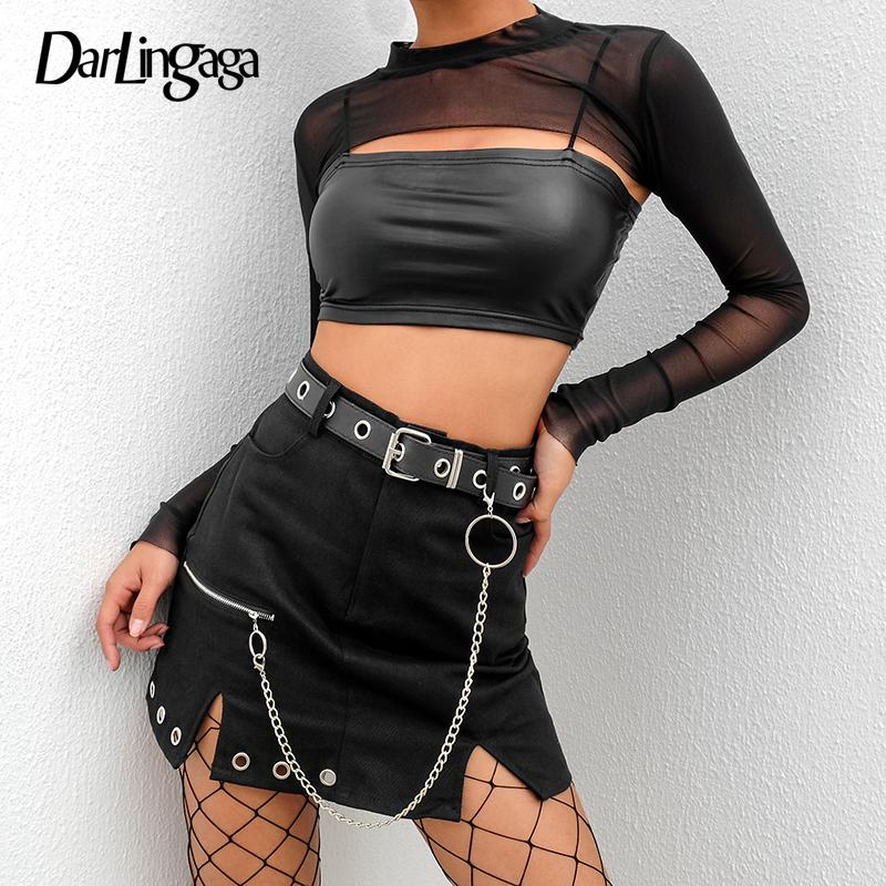 Darlingaga Punk gotische schwarze hohe Taille Rock Frauen kurze Reißverschluss Öse Seite Split Mini Rock Mode Sommer Röcke unten 2019