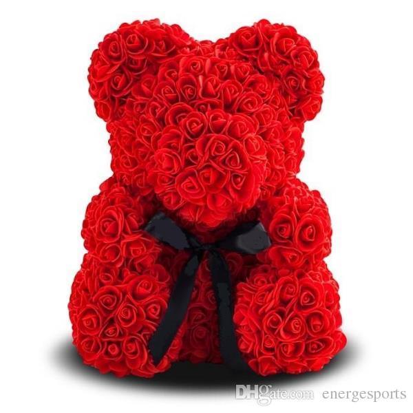 25cm Rose Rose Teddybär Pe für Everlasting Schaum-Blumen-Geschenk Teddybären Puppe Startseite docoration Bär Schöner Soap Craft
