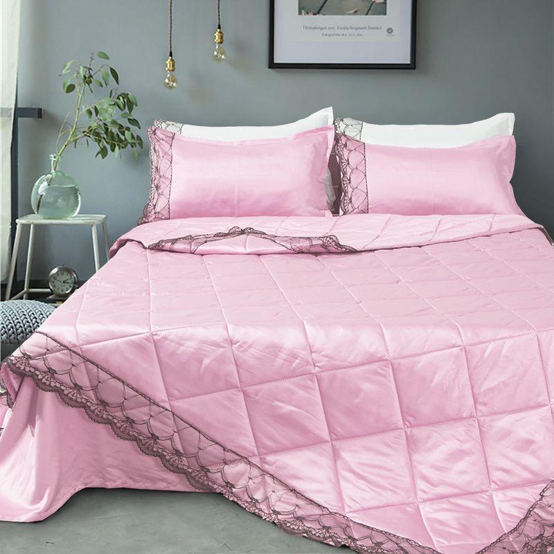 Ücretsiz kargo düz renk yorgan yastık sham ile tek tam kraliçe kral boyutu klima ipek dantel 2/3 adet comforterpillowcase