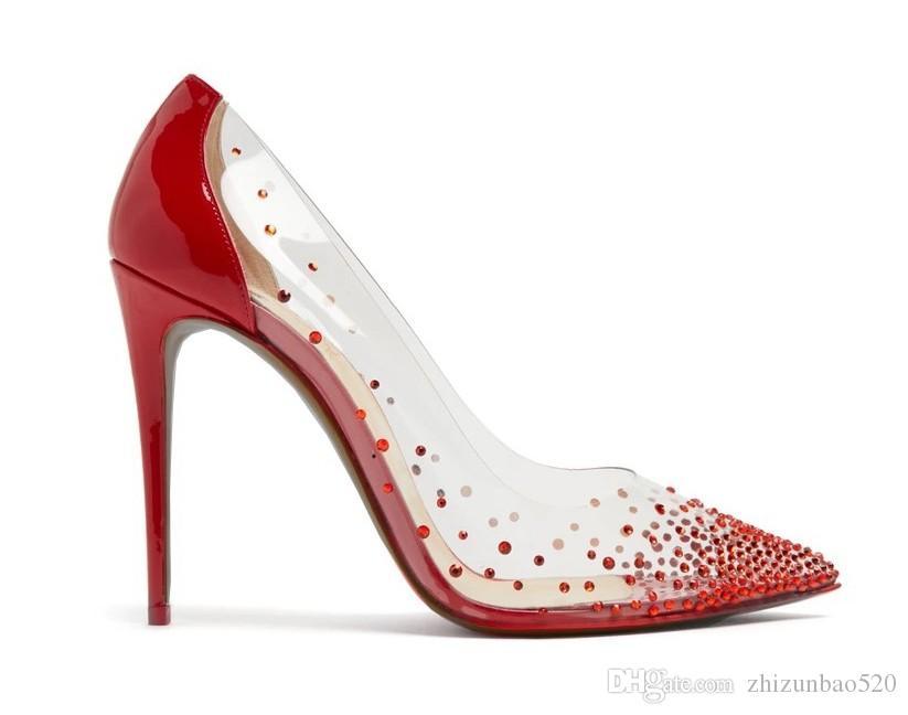 Бесплатная доставка повседневная обувь дизайнер мода новый прозрачный горный хрусталь высокие каблуки женщины свадебные туфли красный насос сексуальные каблуки из пвх