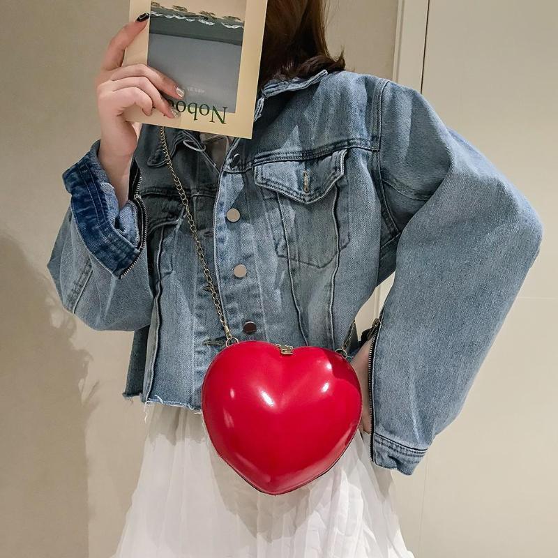 Neue Umhängetasche Frauen für Pfirsich-Herz-Rot Schwarz-große Kapazitäts-Frauen-Schulter-Kette Umhängetasche Messenger Bag Bolsa Femimina
