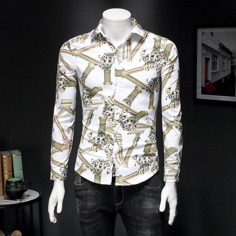 Long-sleeved shirt men's youth Slim Korean European and American retro printed large size shirt spring new pattern shirt