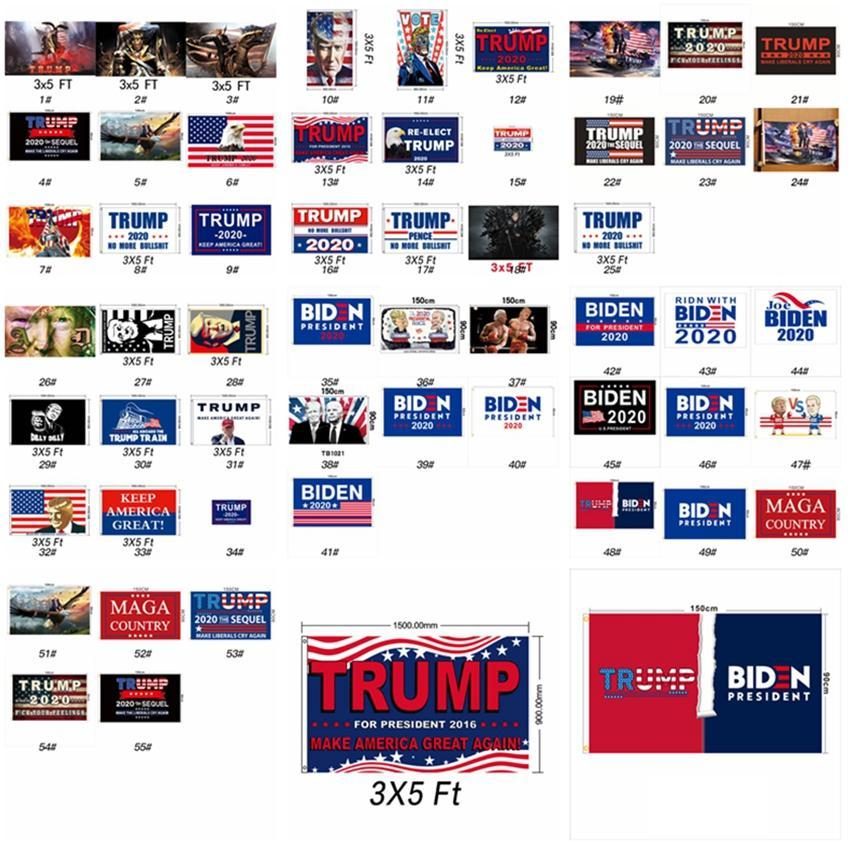 55 Stiller Donald Trump Bayrağı 90 * 150cm Joe Biden Seçim Bayrağı 2020 Amerikan Başkanı Amerika Büyük Parti Bayrağı ZZA2312 30pcs tutun