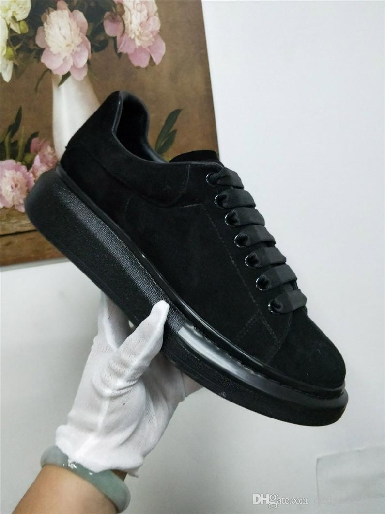 Womens Siyah Kadife Platformu Casual Ayakkabı Sneakers Lüks Katı Renkler Parti Elbise Dantel Up Ayakkabı Sneakers chaussures tasarımcılar