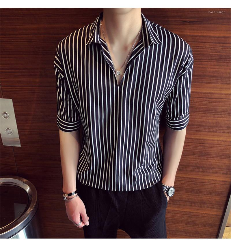Short Sleeve Contrast Color Mens Tops Mens Designer Striped Print Shirts Turn Down Collar Casual Tees