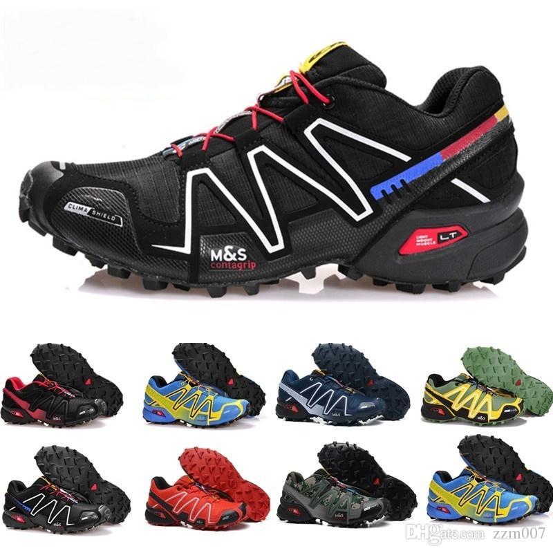 Марка Горячее надувательство Speedcross 3 CS Trail Повседневная обувь женщины Легкие кроссовки Темно-синий Соломон III Zapatos Водонепроницаемая спортивная обувь 36-46