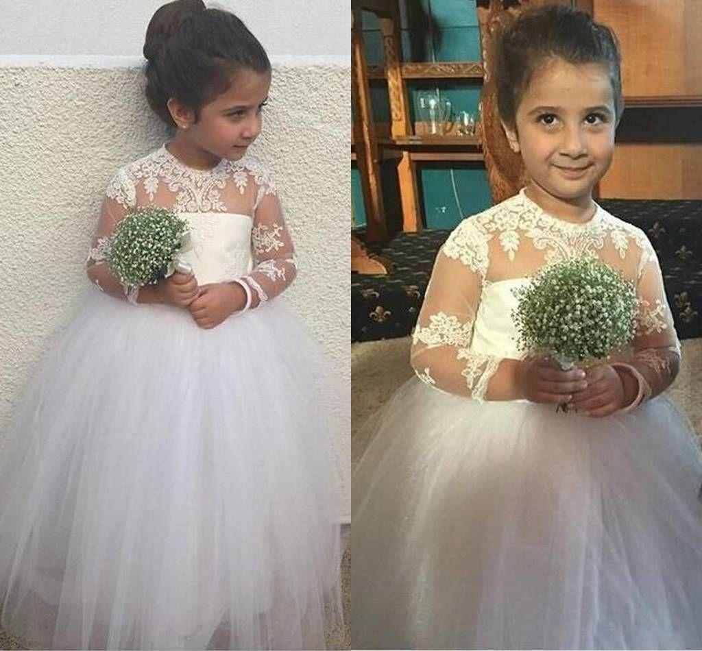 Бальные платья платья для девочек с длинными рукавами пышные маленькие девочки театрализованное платье для малышей аппликации с открытой шеей длинный подружка невесты