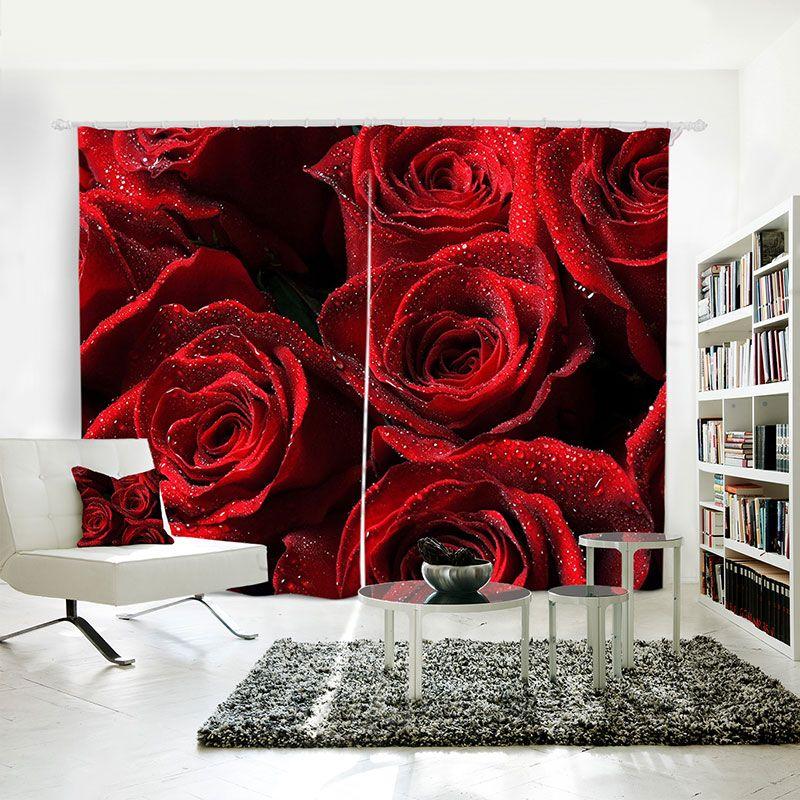 3D Digital printing personality Custom Curtain Beautiful Roses drapes Extra wide Blackout curtain Bedroom li