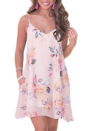 Vestidos casuais vestido de verão feminino Praia floral Sundress sem mangas impressas Bohemian Spaghetti Strap Swing com bolsos