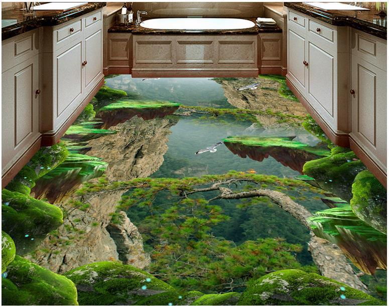 Pittura adesivi per pavimenti in PVC carta da parati Foresta Valley Mountain cucina bagno picco stereo 3D pareti 3D Wallpaper