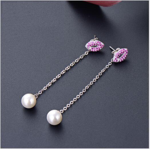 Toptan moda S925 gümüş küpe uzun inci zarif mizaç kulak jewelry412