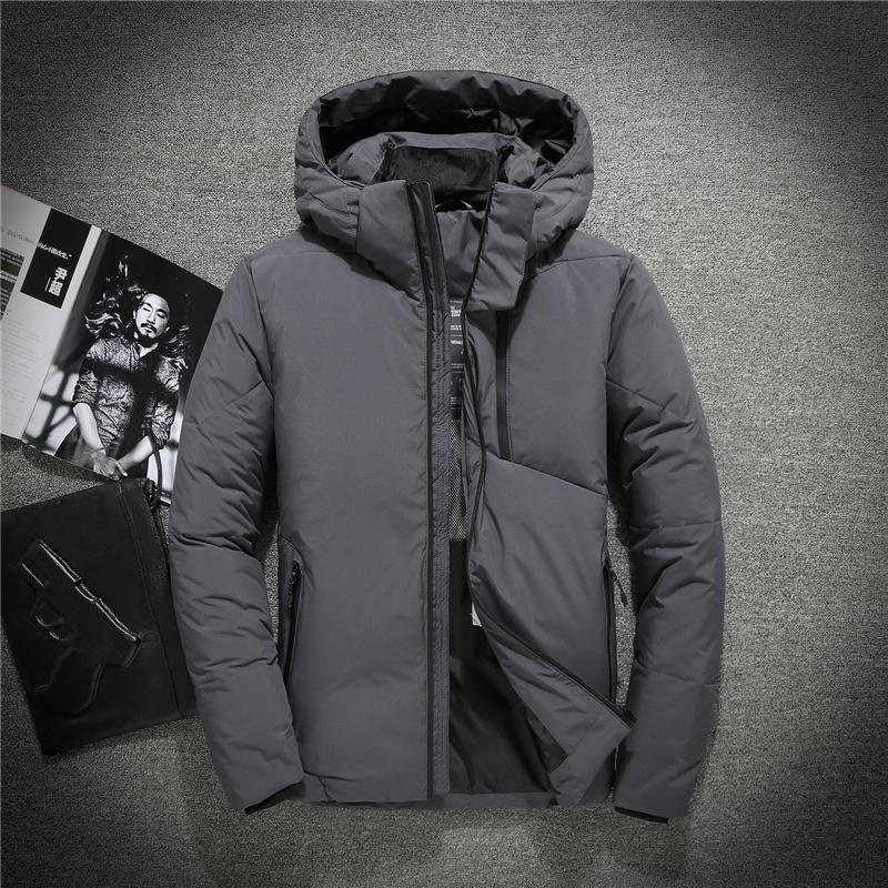 Herren-Wintermäntel 90% weiße Ente wattierte Jacken Männer Neue Kapuze unten Parkas Outwear Männlich Dick Overcoat JK-807