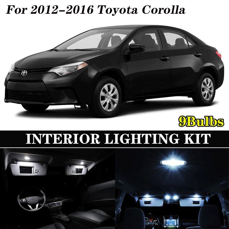 9x Canbus fehlerlose LED-Innenbeleuchtung Kit Package 2012-2016 Corolla Autozubehör Karte Dome Trunk Kennzeichenleuchte