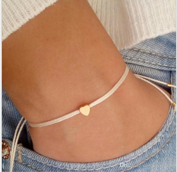 Korean version of the sweet and simple line rope heart-shaped jewelry small fresh peach heart bracelet