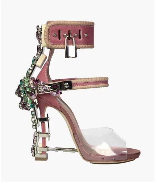 272ad769a Sandalia Feminina Luxury Metal High Heel Crystal Designer Shoes Woman  Gladiator Sandals Padlock Bejeweled Ankle Strap Rhinestone Sandal 3A Wedge  Heels Pink ...