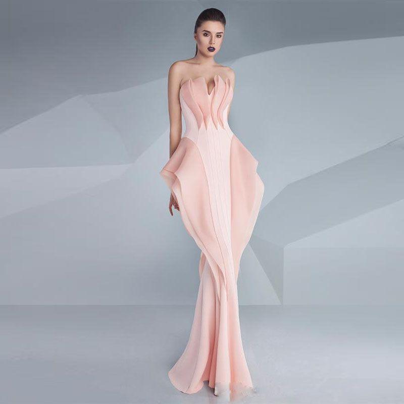 Nueva Zuhair Murad noche de la sirena vestidos de cuello en V sin mangas de las colmenas de Prom Vestidos de longitud de la alfombra roja formal del partido
