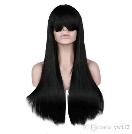 Parrucca per capelli lunghi ondulati lunghi donna Natrual Cosplay Nero Rosso Rosa Bionda Castano chiaro Parrucche per capelli sintetici marrone scuro 68 cm