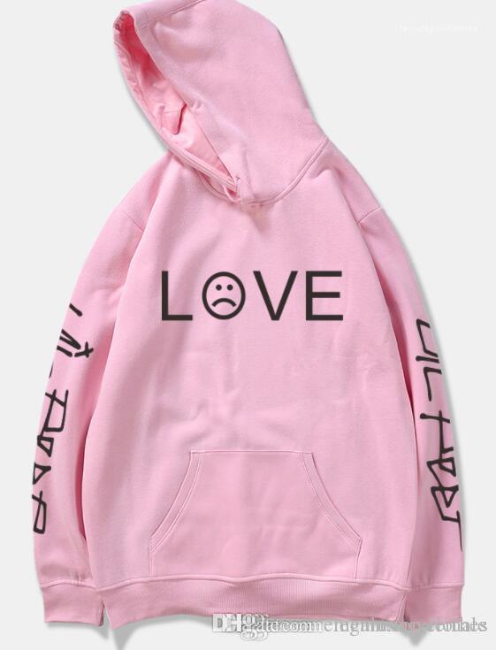 Abbigliamento Lil Peep marca di modo con cappuccio Felpe Top lettere di AMORE Stampa cappuccio, da uomini