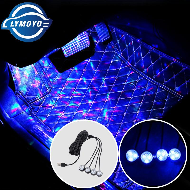 LYMOYO 1/2/4 in One Ambient Interior Light Atmosphere Light Multi-Colorful Foot Lamp Decorative Car LED USB Car Accesories