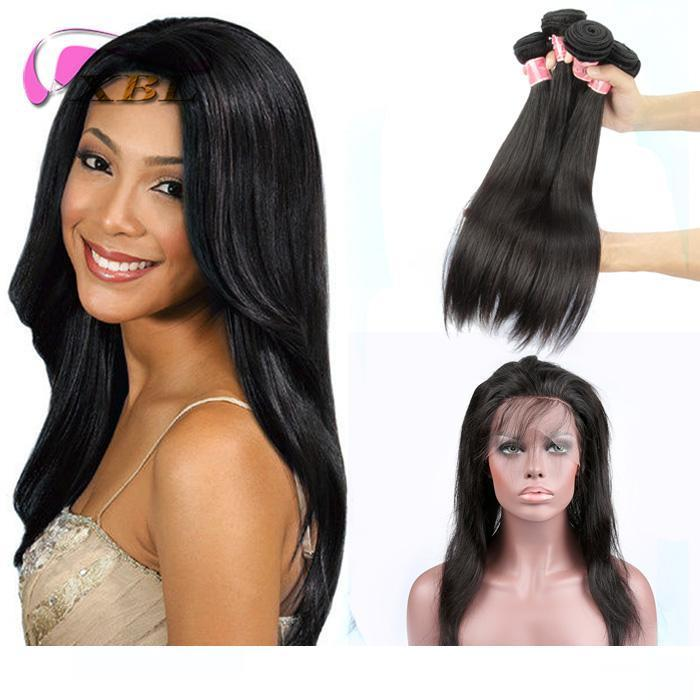 XBL Silky Straight Human Hair Extensions Virgin Hair 360 Lace Frontal With Bundle Pre Plucked Total 4 Pieces