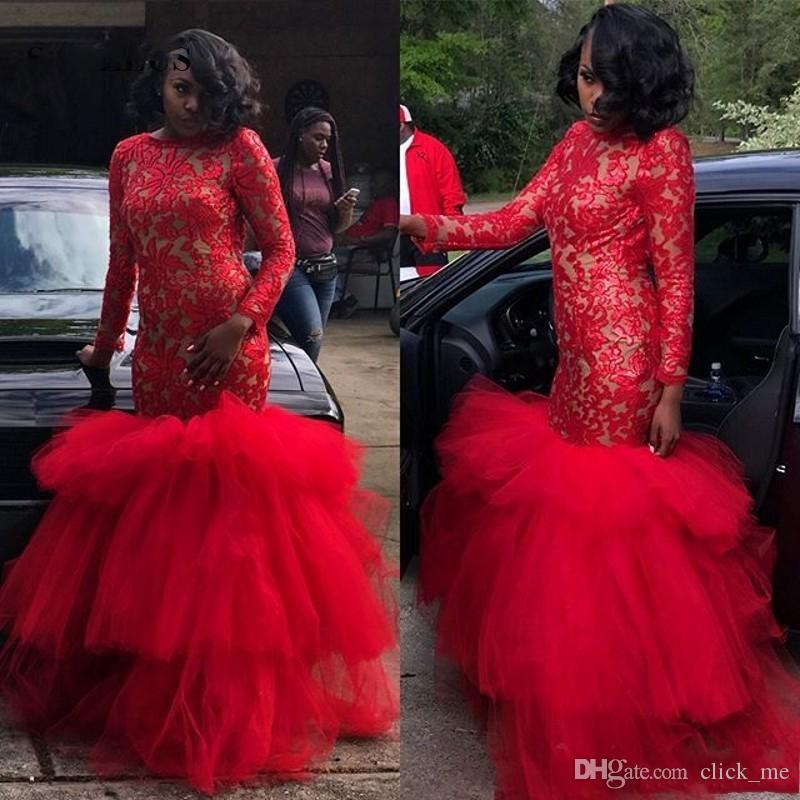 African Red Mermaid Evening Dresses Lace And Tulle Long Sleeves Prom Dress Long Tiered robes de soirée Plus Size African Party Gowns