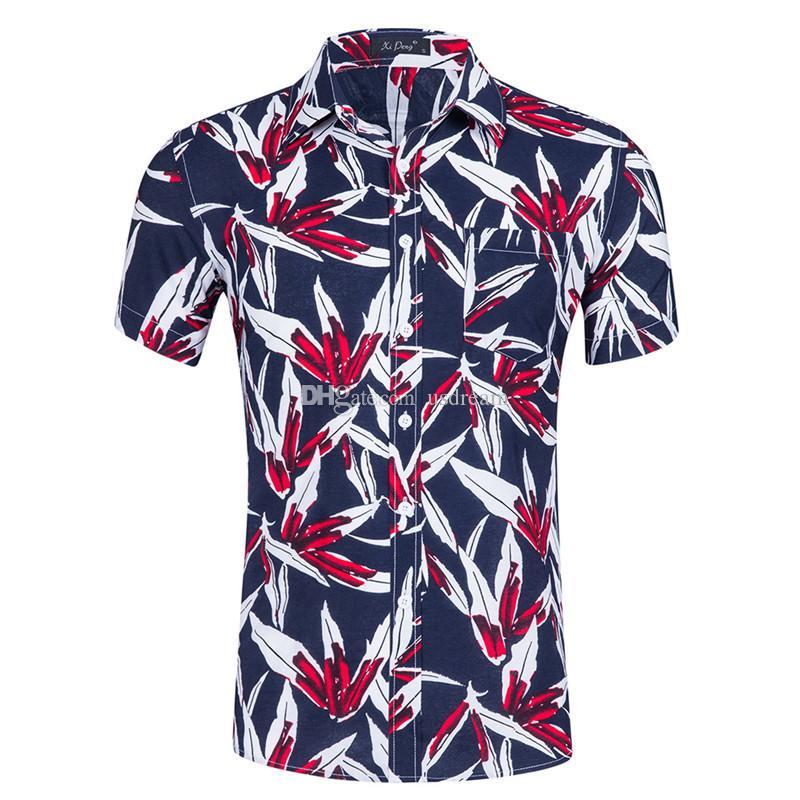 Summer Floral Printed Short Sleeve Shirts Top Summer Beach Casual Shirts for Men beach summer Clothing Drop Ship